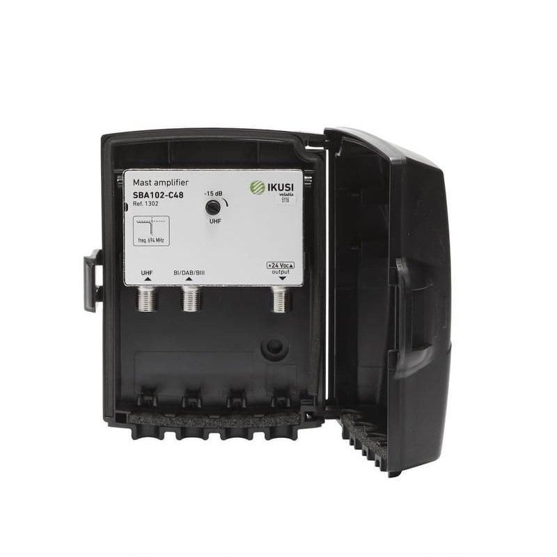 Amplificador mástil 25 dB 2 entradas: BI/DAB/BIII, UHF LTE 2, 1 salida