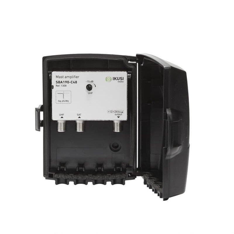 Amplificador mástil 35 dB 2 entradas: UHF LTE 2, SAT, 1 salida