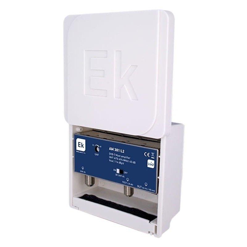 Amplificador mástil paso DC 40 dB entrada UHF LTE 2