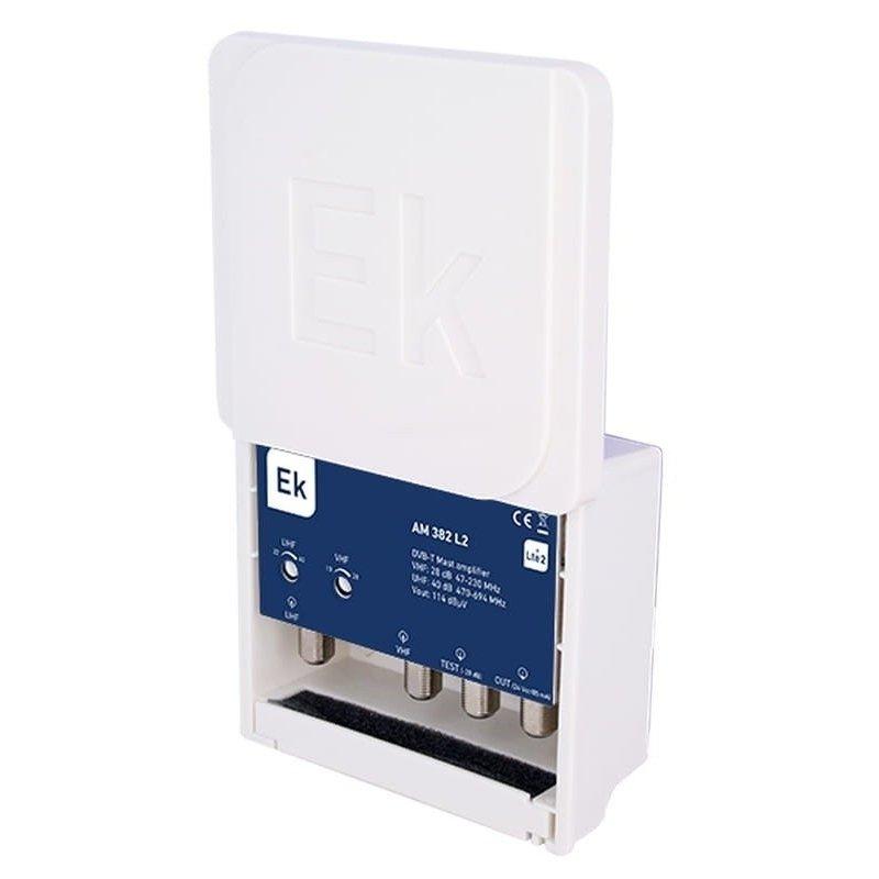 Amplificador mástil 28-38 dB 2 entradas: VHF, UHF LTE 2