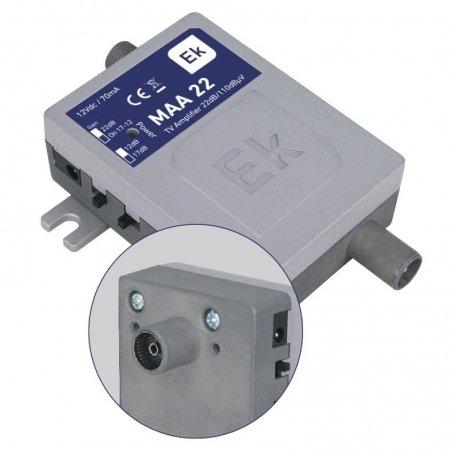 Micro amplificador interior 12-17-22 dB entrada 5-65 / 88-1000 MHz, 1 salida