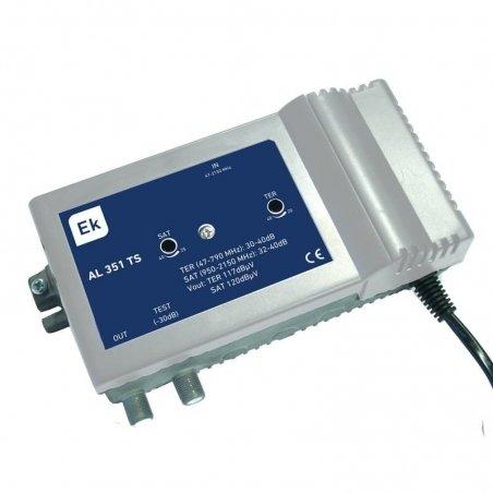 Amplificador línea 35 dB 2 vías: TER, SAT 1 salida + TEST