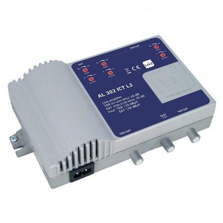 Amplificador doble línea 35-40 dB 2 vías: TER, SAT 2 salidas + TEST