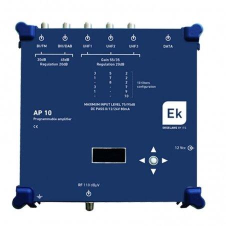 Amplificador programable 5 entradas BI-FM, BIII-DAB, 3xUHF 10 filtros UHF