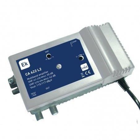 Central banda ancha (paso DC) 30-42 dB2 entradas: VHF, UHF, 1 salida + TEST