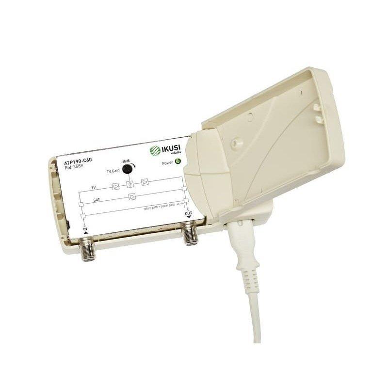 Amplificador interior 18-22 dB entrada TER/SAT/VR 2 salidas