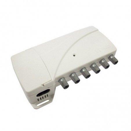 Amplificador banda ancha 31 dB 4 entradas: BI, FM, BIII/DAB, UHF, 1 salida + TEST