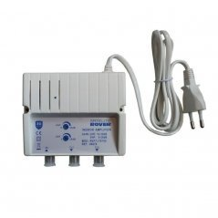 Amplificador interior 25-30 dB entrada VHF/UHF LTE 2 salidas de Satelite Rover