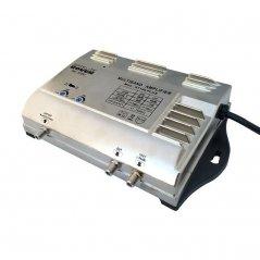 Central banda ancha 25..45 dB entrada BI/BII/UHF 1 salida + TEST de Satelite Rover