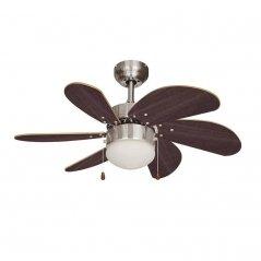 Ventilador de techo Aral 50W 6 aspas wengue/níquel satinado de EDM