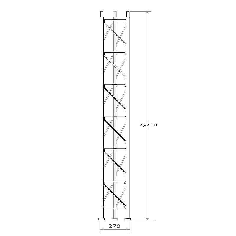 Tramo intermedio 2,5 m de torreta 250 mm arriostrada