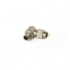 Conector cable coaxial 'IEC' blindado acodado macho